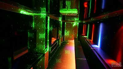 The Interior of the new age gaming game truck with laser light show in Corona ca